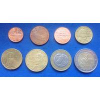 Греция 1, 2, 5, 10, 20, 50 евроцентов, 1, 2 евро 2002-2016