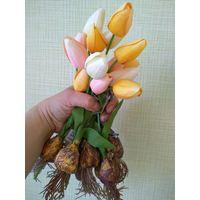 Тюльпаны с луковичками. Имитация настоящих.