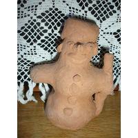 Интересный Снеговик из глины (сделан вручную,единственный в своем роде)