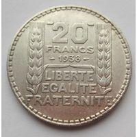 Франция, 20 франков, 1938, серебро