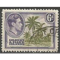 Гилберт и Эллис. Король Георг VI. Кокосовые пальмы. 1939г. Mi#45.