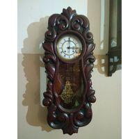 "Часы настенные ""Le roi a Paris"" 1870-е года, красное дерево"