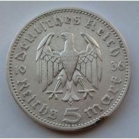 Германия - Третий рейх 5 рейхсмарок. 1936. A