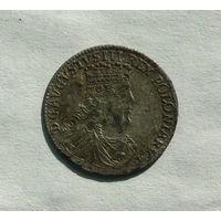 Трояк 1753 г. Август III, высокий, тонкий бюст, Лейпциг, Игер#Li.53.1.a (R2)