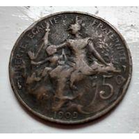 Франция 5 сантимов, 1909 2-6-21