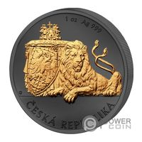 "Ниуэ 2 доллара 2018г. ""Чешский лев: ""Golden Enigma Premium"". Монета в капсуле; подарочном футляре; номерной сертификат. СЕРЕБРО 31,135 гр. (1 oz)."