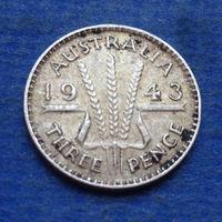 Австралия 3 пенса 1943 Георг VI серебро