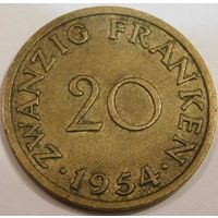 5. саарланд 20 франков 1954 год