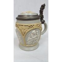 Потрясающая антикварная пивная кружка Mettlach Villeroy&Boch. 1890 год. Номер 1266
