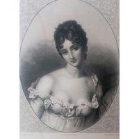 РЕДКАЯ . Старинная гравюра ПАРИЖ 1860 год. оригинал 27 х18 см. MME RECAMIER