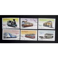 Филиппины 1984 г. Рельсовый транспорт. Железная дорога, полная серия из 6 марок #0069-Т1