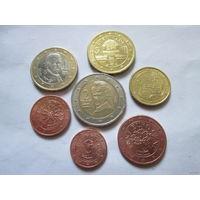 Набор евро монет Австрия 2010 г. (1, 2, 5, 10, 50 евроцентов, 1, 2 евро)