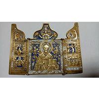 """Складень""""Никола - чудотворец"""", латунь, три эмали, 19 век. хороший сохран. торг"""