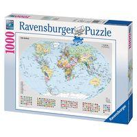 Паззл с изображением большой политической карты мира и государственных флагов стран,1000 элементов Равенсбургер