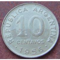 1467: 10 сентаво 1956 Аргентина КМ# 51 никель