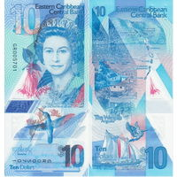 Восточные Карибы 10 долларов образца 2019 года UNC p56