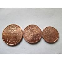 1 + 2 + 5 евроцентов, Литва 2015 г., AU