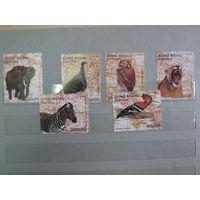 Марки - фауна, птицы и звери, Гвинея-Бисау, слон, сова, зебра и др.