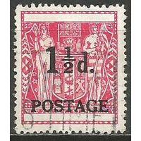 Новая Зеландия. Герб. Надпечатка доплата. 1950г. Mi#309.