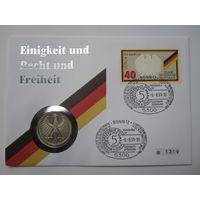 Германия, 5 марок, 1972,  монета-письмо, серебро