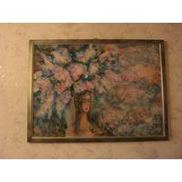 "Картина ""Сиреневый аромат"",батик,художник Кустова И.В."