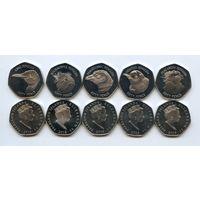 Фолклендские острова набор 5 монет х 50 пенсов 2018
