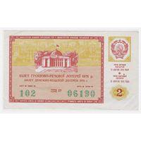 Лотерейный билет УССР 1978 2 выпуск