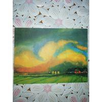 """Эмиль Нольде """"Уходящее лето"""" акварель, открытка с личной печатью художника и штемпелем."""