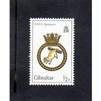 """Гибралтар.Ми-447. Корабль ее величества """"Опоссум"""". Флот. Герб. 1982."""