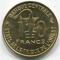 (B3) ЗАПАДНАЯ АФРИКА - 10 ФРАНКОВ 1966 UNC