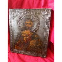 Икона Старинная Господь Вседержитель  с рубля Аукцион