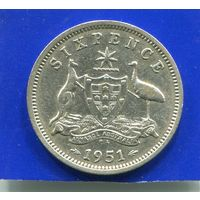 Австралия 6 пенсов 1951 , серебро