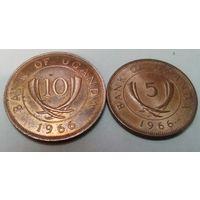 Уганда  5, 10 центов набор из 2 монет 1966