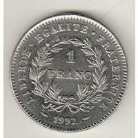 Франция 1 франк 1992 200 лет Французской Республике