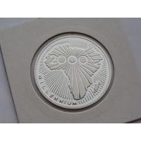 """Чад. 500 франков 2000 год  КМ#17  """"Миллениум"""" """"Серебро"""""""