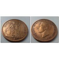 1 пенни 1940 г.в. Великобритания KM# 845 PENNY, из коллекции