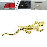 """3D металлическая  стикер наклейка на автомобиль со стразами """"Ящерица"""" , золото . распродажа"""