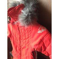 Теплая куртка - пальто с натуральным мехом.