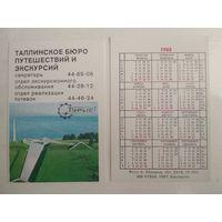 Карманный календарик . Турист . 1988 год