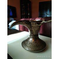 Турка латунь серебрение резьба по металлу ручная работ изготовитель КАТАР