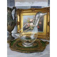Графин кувшин декантер с крышкой утка серебрение Италия Хрустальная Уточка Silverplate АРТ 12-10