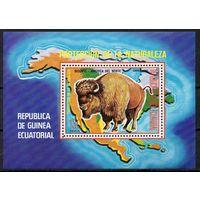 Фауна Дикие животные Экваториальная Гвинея 1977 год 1 блок (М)