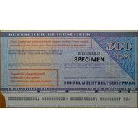 Дорожный Чек Германия ФРГ 500 марок. Образец